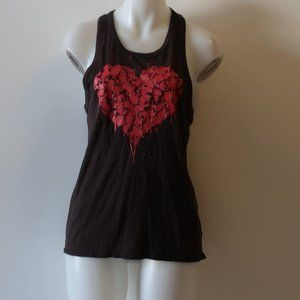CHASER SKULL HEART DISTRESSED RACERBACK TANK TOP M